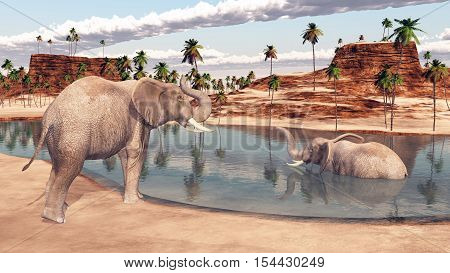 Computer generated 3D illustration with two elephants at a waterhole