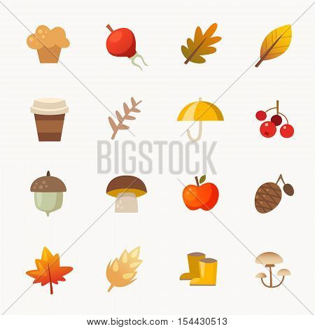 Set of colorful warm autumn icons. Isolated vector elements for autumn greeting cards posters and patterns.