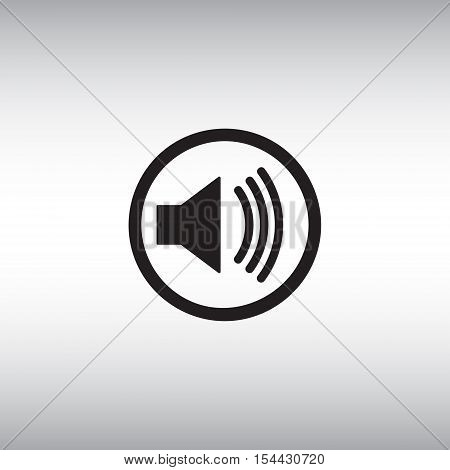 Sound vector icon. Sound vector isolated sign. Sound on vector pictogram. Loud sound symbol. Sound settings menu sign.