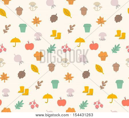 Colorful autumn seamless pattern with seasonal elements and items. The pattern i added to swatches. Can be used for gift wrapping paper linen fabric text book covers or gift cards background.