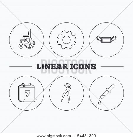 Medical mask, pipette and dental pliers icons. Wheelchair linear sign. Flat cogwheel and calendar symbols. Linear icons in circle buttons. Vector