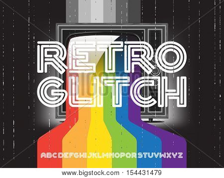 retro glitch tv with rainbow and font set. Color paint flows from screen. Vector concept illustration