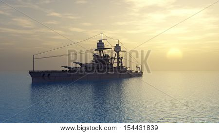 Computer generated 3D illustration with an American battleship of World War II at sunset