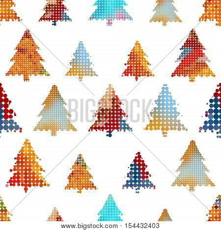 Set Of Christmas Colorful Tree Decoration Small Circle Dots Seamless Pattern Eps10