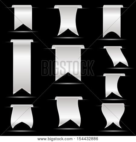 Silver Hanging Curved Ribbon Banners Set Eps10