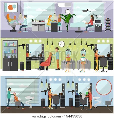 Beauty salon interior vector concept banners. Haircut, manicure and make up atelier. Women in spa and beauty studio illustration in flat cartoon style.
