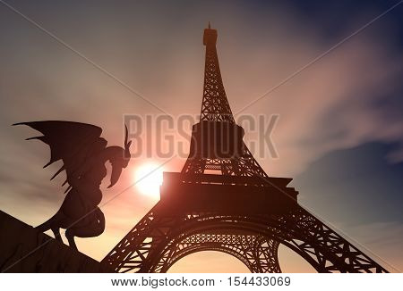 Computer generated 3D illustration with Gargoyle and Eiffel Tower in Paris