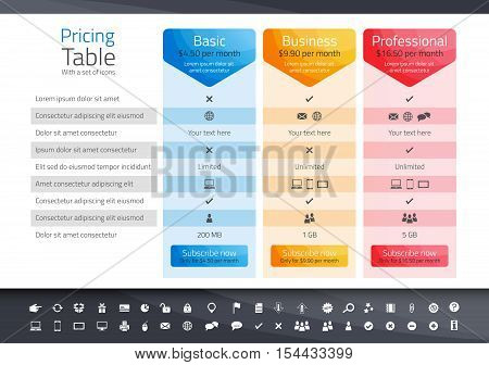 White pricing table with 3 options. Icon set included