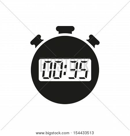 The 35 seconds, minutes stopwatch icon. Clock and watch, timer, countdown symbol. UI. Web. Logo. Sign. Flat design. App. Stock vector
