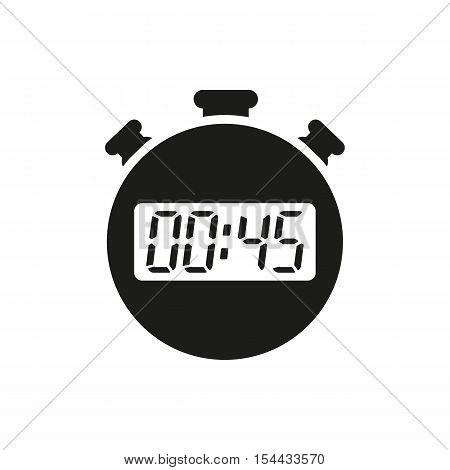 The 45 seconds, minutes stopwatch icon. Clock and watch, timer, countdown symbol. UI. Web. Logo. Sign. Flat design. App. Stock vector