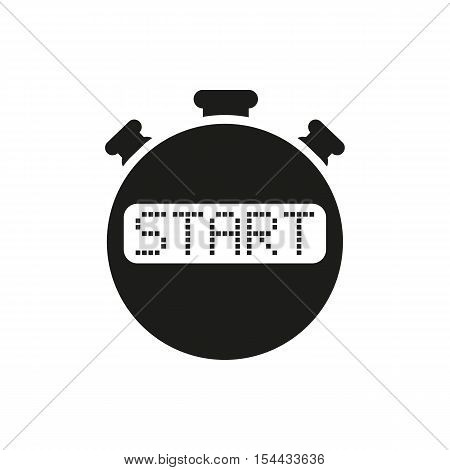 The start stopwatch icon. Clock and watch, timer, countdown symbol. UI. Web. Logo. Sign. Flat design. App. Stock vector