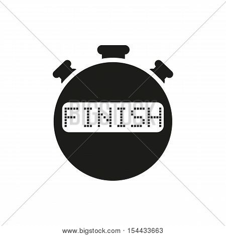 The finish stopwatch icon. Clock and watch, timer, countdown symbol. UI. Web. Logo. Sign. Flat design. App. Stock vector