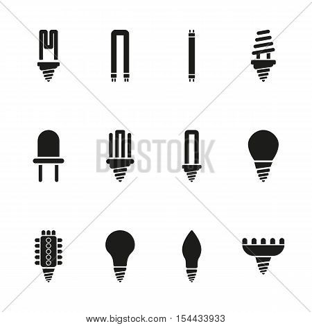 The light bulb icon, set of 12 icons. Lamp and bulb, lightbulb symbol.UI. Web. Logo. Sign. Flat design. App. Stock vector