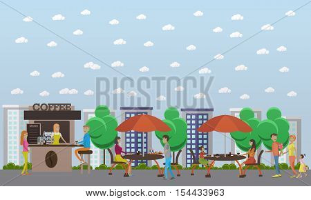 Street coffee shop concept vector banner. Takeaway kiosk in flat style. Design elements and icons. Customer at stall.