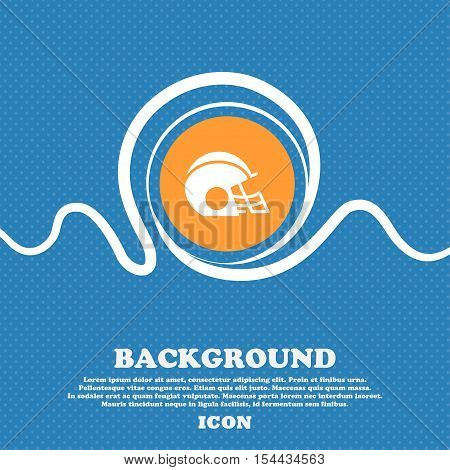 Football Helmet Icon Sign. Blue And White Abstract Background Flecked With Space For Text And Your D
