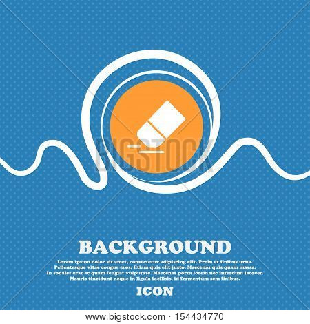 Eraser, Rubber Icon Sign. Blue And White Abstract Background Flecked With Space For Text And Your De
