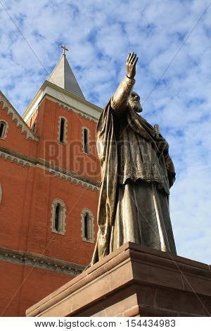 This is a statue of Archabbot Boniface Wimmer, founding father of St. Vincent Archabbey in Latrobe, Pennsylvania