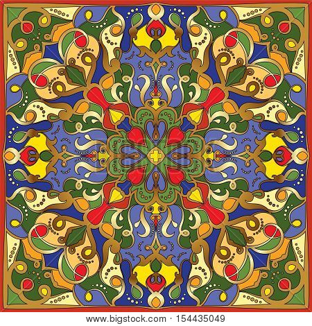 Traditional ornamental floral bandanna. You can use this pattern in the design of carpet, shawl, pillow, cushion.