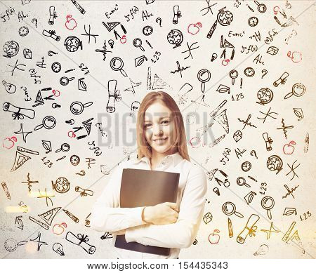 Woman Near White Wall With Education Icons, Toned