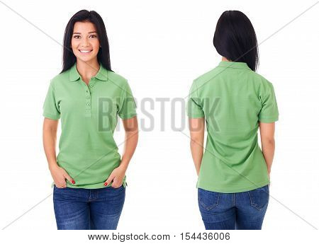 Young Woman In Green Polo Shirt On White Background