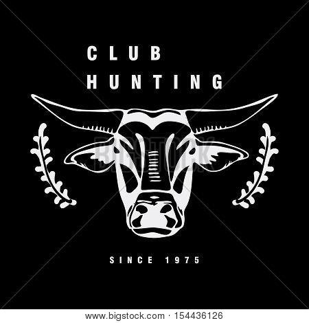 Logo, symbol, sign, stencil bull head.Unique technique. Vintage hand drawn style