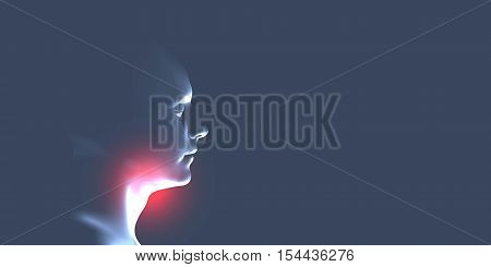 Human throat irritation. Health care concept design. Sore throat. Laryngitis vector illustration