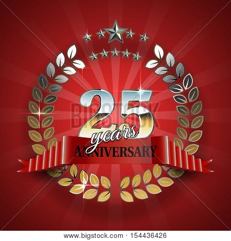 25th anniversary frame in the golden form of laurel branches. Frame for 25th anniversary. Anniversary ring with red ribbon. Anniversary festive celebration emblem. Vector illustration