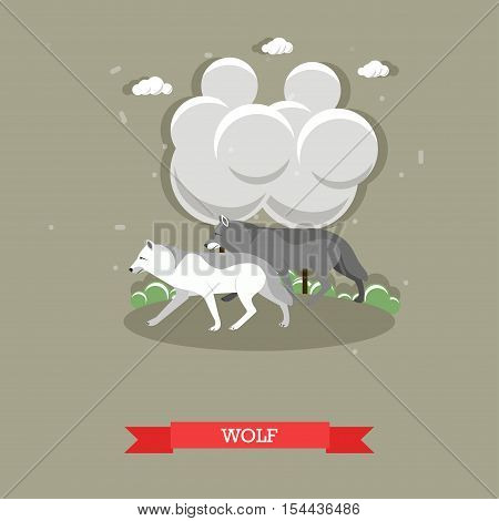 Two wolfs walking in a forest - stock vector.