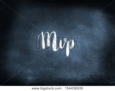 Mvp written on a blackboard