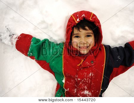 Cute kid in snow, snowtime, winter, happiness