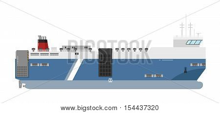 Ferryboat isolated on white background. Ferry boat side view. Commercial vessel for carrying passengers and cars in flat design. Logistics and transportation ship vector icon. Vector ferry boat ship.  For cargo ship agency. Cargo ship sign. Cargo ship ill