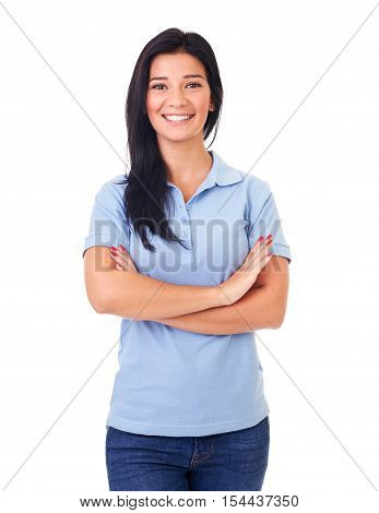 Beautiful Woman In Blue Polo Shirt With Arms Crossed, On A White Background