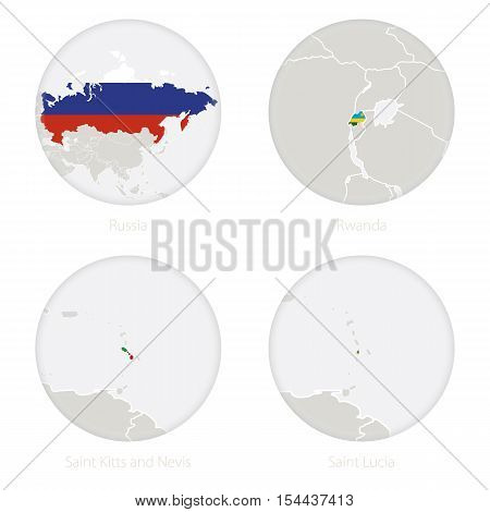 Russia, Rwanda, Saint Kitts and Nevis, Saint Lucia map contour and national flag in a circle. Vector Illustration.