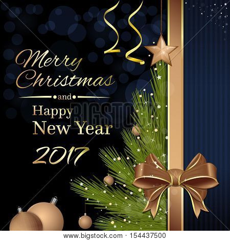 Merry Christmas and Happy New Year 2017.  Christmas tree with Christmas decorations and gold ribbon and bow on a dark background. Vector Christmas card