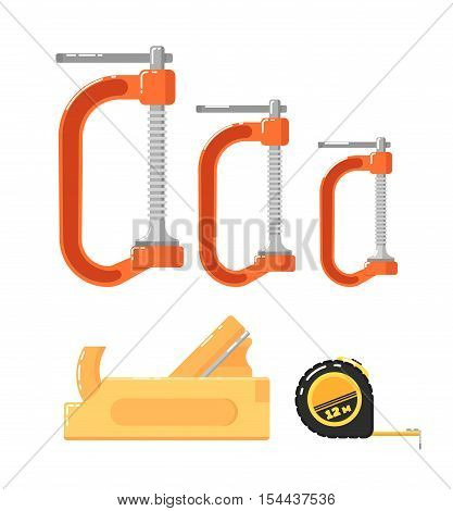 Building tools isolated on white background vector illustration. Planer, roulette and clamps in flat design. Hand tools for carpentry and home renovation. DIY collection. Construction equipment.