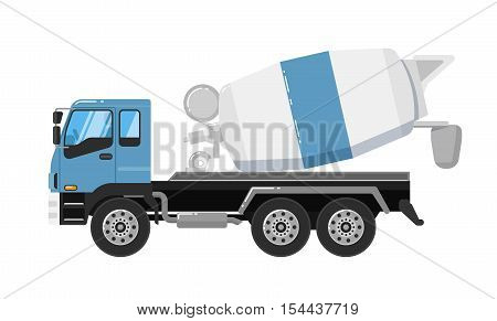 Concrete mixer truck isolated on white background vector illustration. Construction machine in flat design. Cement mixer. Cargo truck. Building equipment. Commercial vehicle.