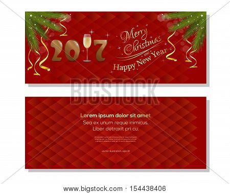 New Year 2017. Red abstract vector christmassy backgrounds with fir branches, ribbons, bows and jingle bells. Merry Christmas and a Happy New Year. Christmas greeting card