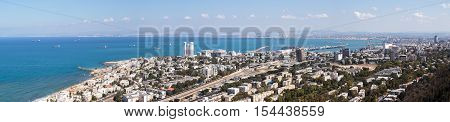 Panorama of downtown Haifa and Haifa harbor and bay. View from Mount Carmel