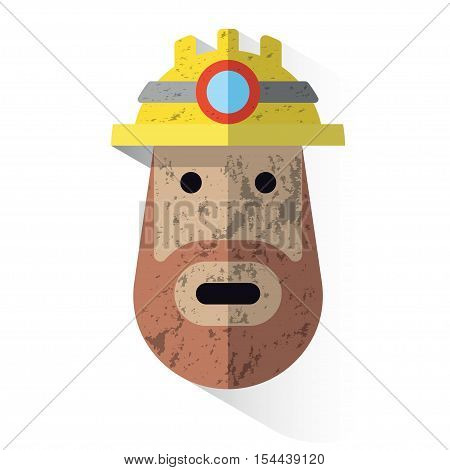 Icon Face Dirty Miner With Helmet