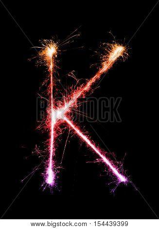 Sparkler Firework Light Alphabet K (capital Letters) At Night