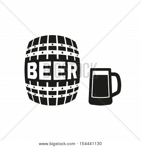 Keg and glass of beer icon. Cask and barrel, alcohol symbol. UI. Web. Logo. Sign. Flat design. App. Stock vector