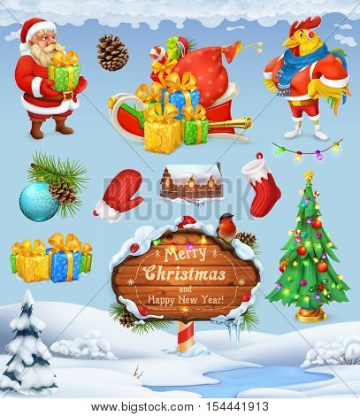Merry Christmas and Happy New Year. Santa Claus. Christmas tree. Wooden sign. Gift box. Winter background. 3d vector icon set