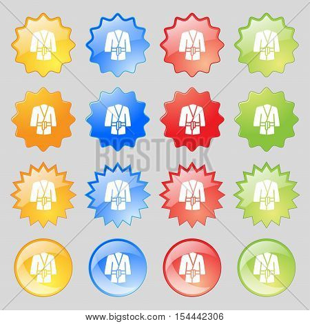 Bathrobe Icon Sign. Big Set Of 16 Colorful Modern Buttons For Your Design. Vector
