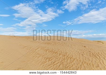 Sandy desert.Sandy desert landscape dunes with blue sky on the background.