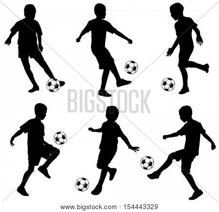 kids playing soccer - vector