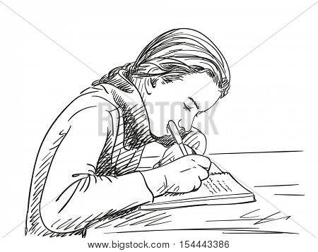 Sketch of schoolgirl doing homework Hand drawn vector illustration