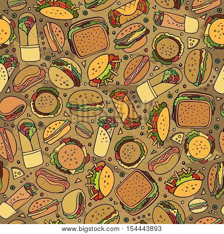 Cartoon cute hand drawn Fast food seamless pattern. Colorful with lots of objects background. Endless funny vector illustration. Bright colors backdrop with fastfood symbols and items