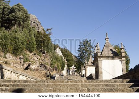 Chapels along the alley leading to the Church of Our Lady in the Peneda Geres National Park North of Portugal