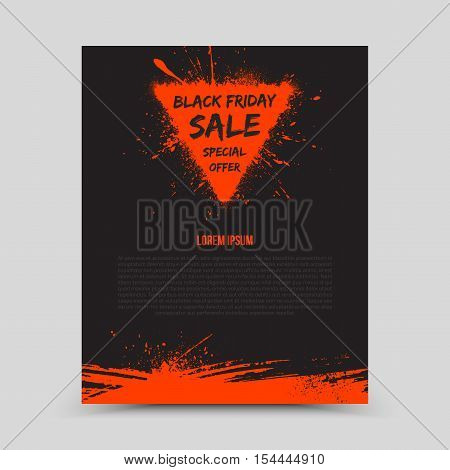 Vector isolated dark flyer design template Black Friday Sale. Abstract hand made grunge illustration on white background for advertise, promote, business. Handicraft art ink scatter blot and smear