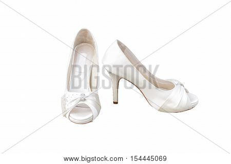 Used Ivory Female Wedding footwear isolated on white background